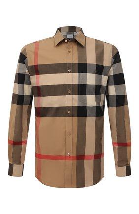 Мужская хлопковая рубашка BURBERRY бежевого цвета, арт. 8010213 | Фото 1