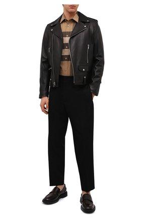 Мужская хлопковая рубашка BURBERRY бежевого цвета, арт. 8010213 | Фото 2