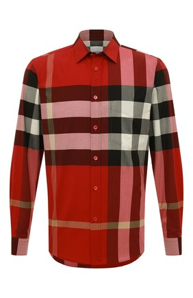 Мужская хлопковая рубашка BURBERRY красного цвета, арт. 8019879 | Фото 1
