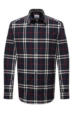 Мужская хлопковая рубашка BURBERRY синего цвета, арт. 8020865 | Фото 1