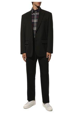 Мужская хлопковая рубашка BURBERRY синего цвета, арт. 8020865 | Фото 2