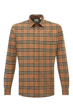 Мужская хлопковая рубашка BURBERRY бежевого цвета, арт. 8020966 | Фото 1