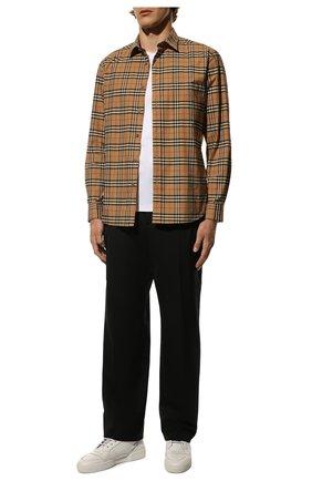 Мужская хлопковая рубашка BURBERRY бежевого цвета, арт. 8020966 | Фото 2