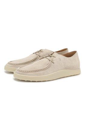 Мужские замшевые ботинки TOD'S светло-бежевого цвета, арт. XXM52B0CM10RE0 | Фото 1