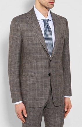 Мужской костюм из смеси кашемира и льна KITON коричневого цвета, арт. UA81K06S49   Фото 2