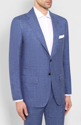 Мужской костюм из смеси кашемира и шелка KITON голубого цвета, арт. UA81K06S20   Фото 2