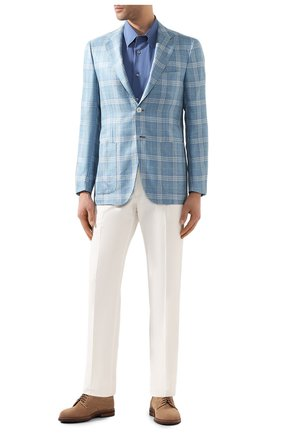 Мужская хлопковая сорочка BRIONI синего цвета, арт. SCDG0L/08010 | Фото 2