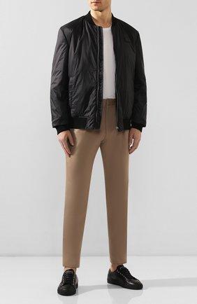 Мужские кожаные кеды BRIONI черного цвета, арт. QHH40L/P9730 | Фото 2