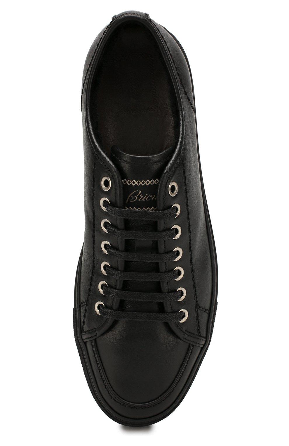 Мужские кожаные кеды BRIONI черного цвета, арт. QHH40L/P9730 | Фото 5