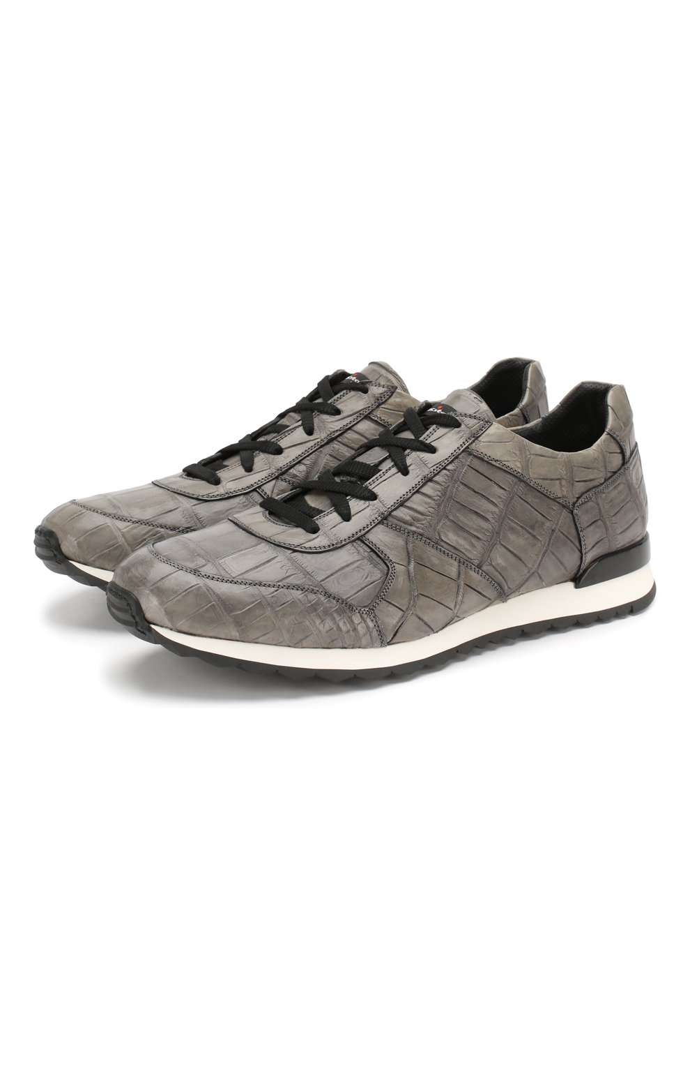 Мужские кроссовки из кожи крокодила KITON серого цвета, арт. USSVLAN/N00102 | Фото 1