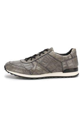 Мужские кроссовки из кожи крокодила KITON серого цвета, арт. USSVLAN/N00102 | Фото 3