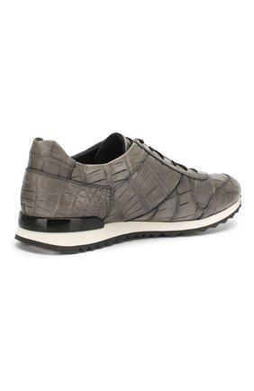 Мужские кроссовки из кожи крокодила KITON серого цвета, арт. USSVLAN/N00102 | Фото 4