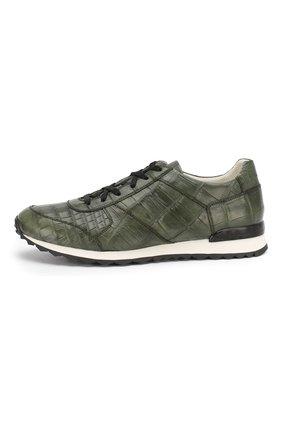 Мужские кроссовки из кожи крокодила KITON зеленого цвета, арт. USSVLAN/N00102 | Фото 3