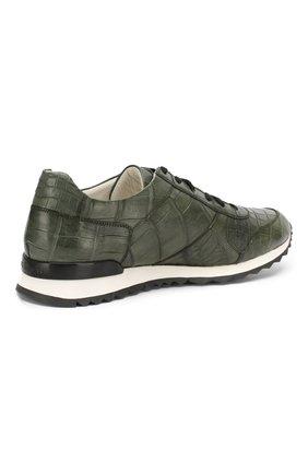 Мужские кроссовки из кожи крокодила KITON зеленого цвета, арт. USSVLAN/N00102 | Фото 4