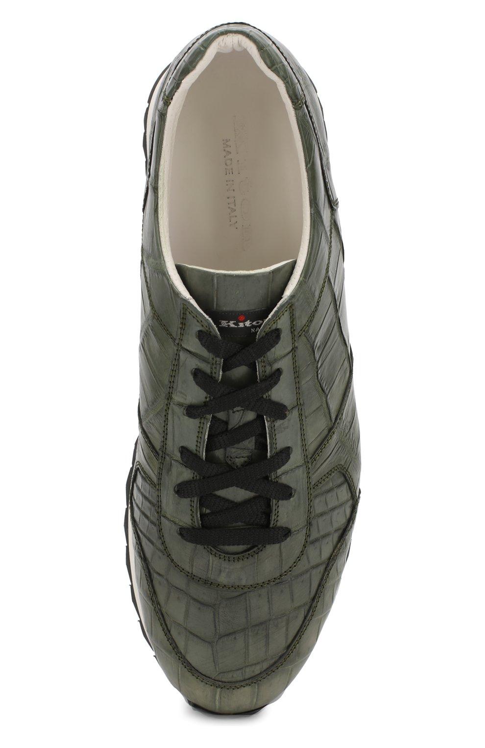 Мужские кроссовки из кожи крокодила KITON зеленого цвета, арт. USSVLAN/N00102 | Фото 5