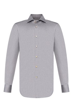 Мужская хлопковая сорочка KITON серого цвета, арт. UCIDFAP2/H0003105 | Фото 1
