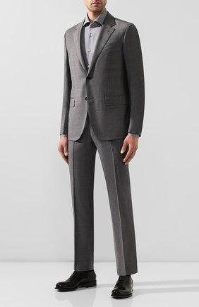 Мужская хлопковая сорочка KITON серого цвета, арт. UCIDFAP2/H0003105 | Фото 2