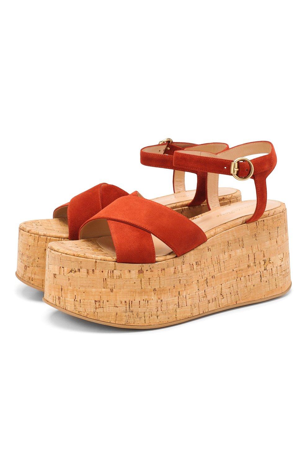 Женские кожаные босоножки GIANVITO ROSSI красного цвета, арт. G31691.20RIC.CSGCRCK   Фото 1