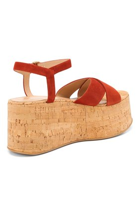 Женские кожаные босоножки GIANVITO ROSSI красного цвета, арт. G31691.20RIC.CSGCRCK   Фото 4