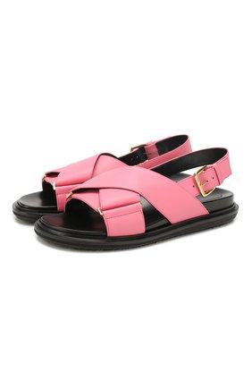 Женские кожаные сандалии MARNI розового цвета, арт. FBMS005201/LV817 | Фото 1