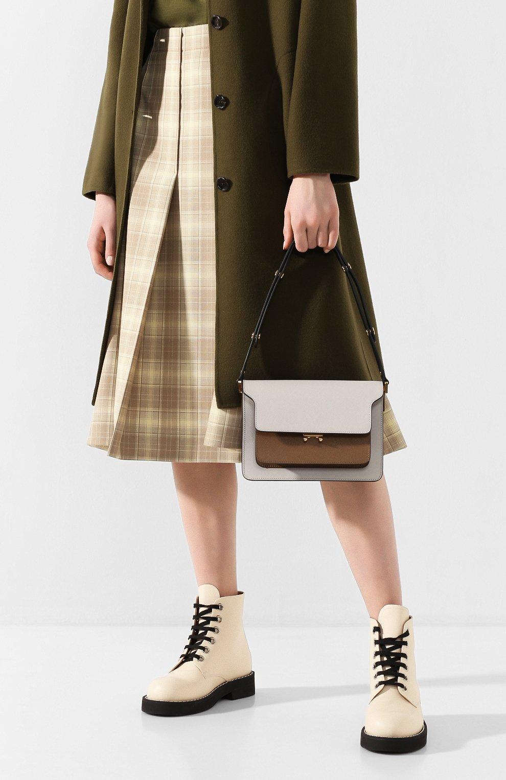 Женская сумка trunk MARNI белого цвета, арт. SBMPN09N05/LV520   Фото 2 (Сумки-технические: Сумки top-handle; Материал: Натуральная кожа; Ремень/цепочка: На ремешке; Размер: small; Статус проверки: Проверена категория)