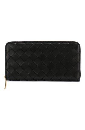 Женские кожаный кошелек BOTTEGA VENETA черного цвета, арт. 608051/VCPP2 | Фото 1