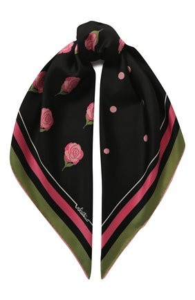 Женский шелковый платок valentino garavani VALENTINO черного цвета, арт. TW2EI114/INT   Фото 1