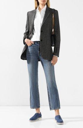 Женские кожаные оксфорды SANTONI темно-синего цвета, арт. WUUS58671PACSERVU40   Фото 2