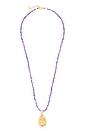 Женское колье HERMINA ATHENS фиолетового цвета, арт. YLN | Фото 1