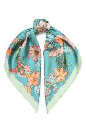 Женский шелковый платок SALVATORE FERRAGAMO светло-зеленого цвета, арт. Z-0727055 | Фото 1