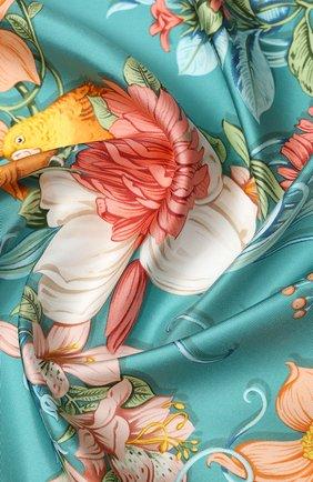 Женский шелковый платок SALVATORE FERRAGAMO светло-зеленого цвета, арт. Z-0727055 | Фото 2