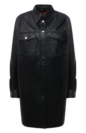 Женская кожаная рубашка MASLOV черного цвета, арт. R011   Фото 1