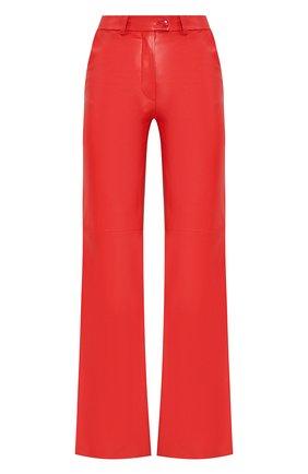 Женские кожаные брюки MASLOV красного цвета, арт. BR101   Фото 1