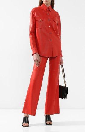 Женские кожаные брюки MASLOV красного цвета, арт. BR101   Фото 2