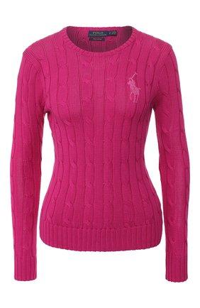 Женская хлопковый пуловер POLO RALPH LAUREN розового цвета, арт. 211780365 | Фото 1
