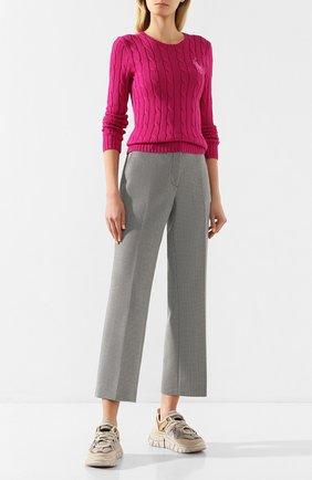 Женская хлопковый пуловер POLO RALPH LAUREN розового цвета, арт. 211780365 | Фото 2