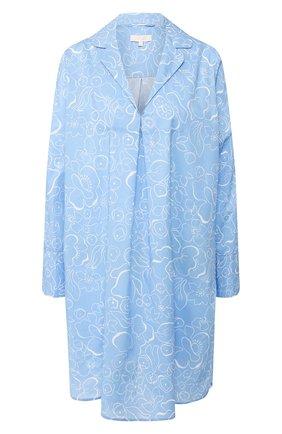 Женская хлопковая сорочка YOLKE голубого цвета, арт. SS20-47C-MA-BL | Фото 1
