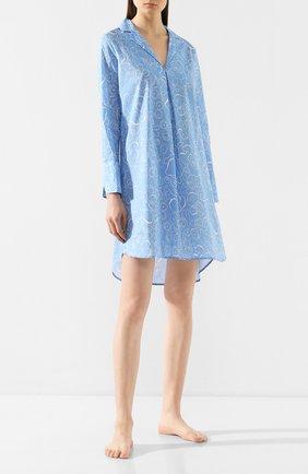Женская хлопковая сорочка YOLKE голубого цвета, арт. SS20-47C-MA-BL | Фото 2