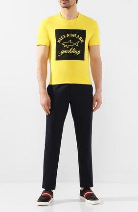 Мужская хлопковая футболка PAUL&SHARK желтого цвета, арт. E20P1117 | Фото 2