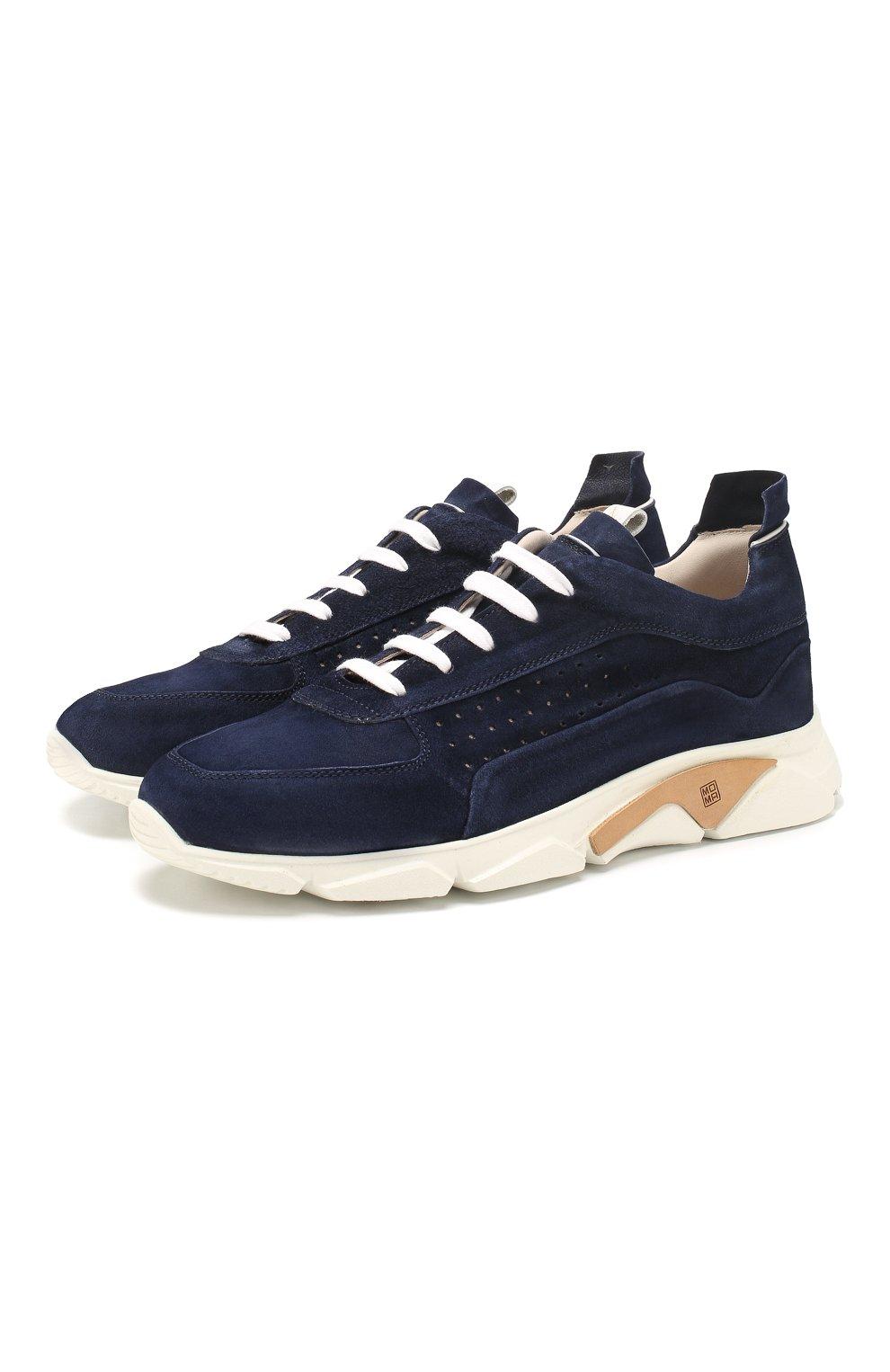 Мужские замшевые кроссовки MOMA темно-синего цвета, арт. 4AS018-0L   Фото 1 (Материал внутренний: Натуральная кожа; Подошва: Массивная)