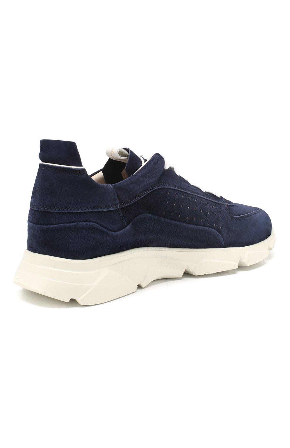 Мужские замшевые кроссовки MOMA темно-синего цвета, арт. 4AS018-0L   Фото 4 (Материал внутренний: Натуральная кожа; Подошва: Массивная)