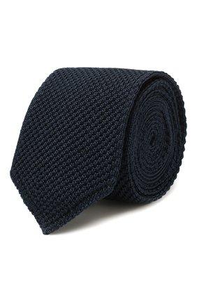 Мужской шелковый галстук ERMENEGILDO ZEGNA темно-синего цвета, арт. Z7F00/1ZM | Фото 1