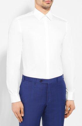 Мужская хлопковая сорочка CORNELIANI белого цвета, арт. 85E082-0111102/00   Фото 3