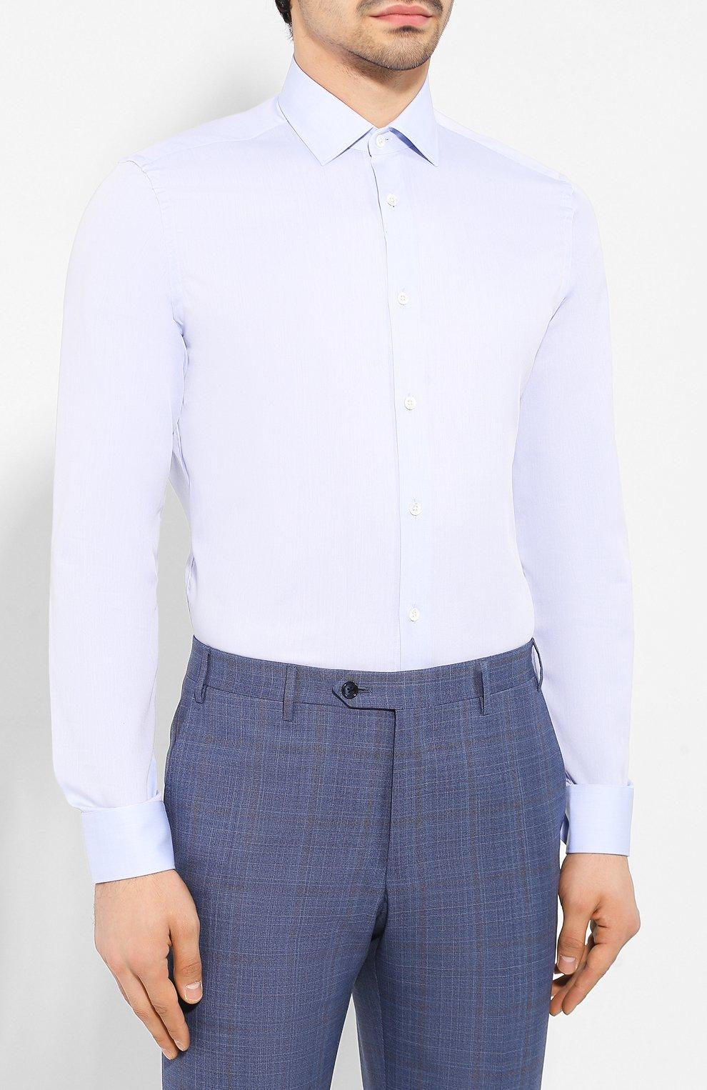 Мужская хлопковая сорочка CORNELIANI голубого цвета, арт. 85P010-0111408/00 | Фото 3