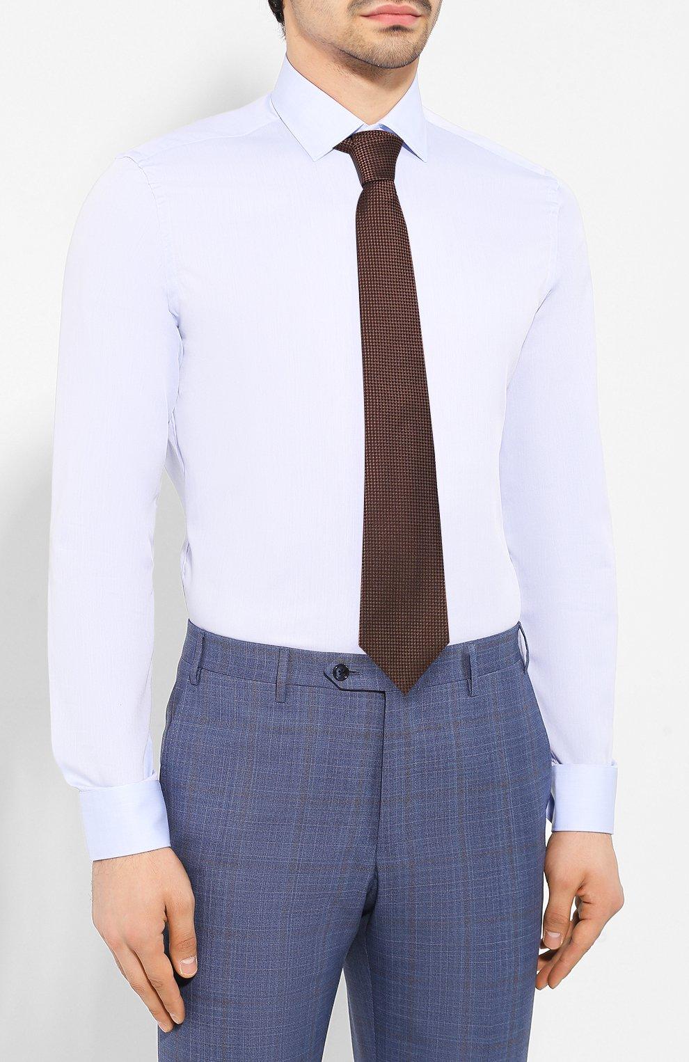 Мужская хлопковая сорочка CORNELIANI голубого цвета, арт. 85P010-0111408/00 | Фото 4
