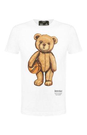 Мужская хлопковая футболка DOM REBEL белого цвета, арт. DRIBBLE/REGULAR T-SHIRT | Фото 1