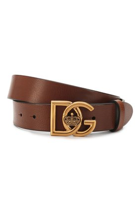 Мужской кожаный ремень DOLCE & GABBANA коричневого цвета, арт. BC4376/AV480 | Фото 1