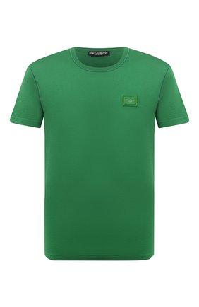 Мужская хлопковая футболка DOLCE & GABBANA зеленого цвета, арт. G8KJ9T/FU7EQ   Фото 1 (Мужское Кросс-КТ: Футболка-одежда; Рукава: Короткие; Материал внешний: Хлопок; Принт: Без принта; Длина (для топов): Стандартные; Стили: Кэжуэл)