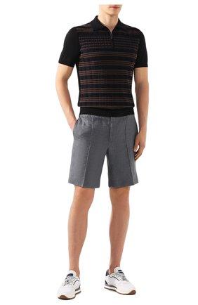 Мужские льняные шорты BRIONI серого цвета, арт. RPP10L/P6114/NEW SIDNEY | Фото 2