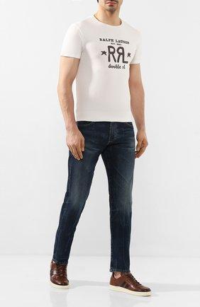 Мужская хлопковая футболка RRL белого цвета, арт. 782759295 | Фото 2